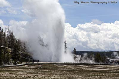 Grand Geyser erupting from north of the geyser